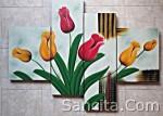 P4-04 Lukisan Minimalis Set / Panel Bunga Tulip