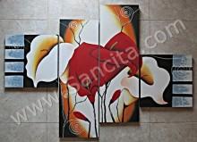 P4-03 Lukisan Minimalis Set / Panel Bunga Sallas