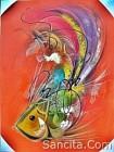 AT-02 Lukisan Abstrak Ikan
