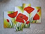 P4-05 Lukisan Minimalis Set / Panel Set Bunga Sallas