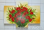 P3-04 Lukisan Minimalis Set / Panel Set Bunga Kristan