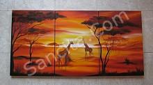 P3-12 Lukisan Minimalis Set / Panel Afrika