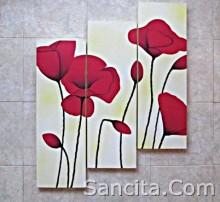 P3-05 Lukisan Minimalis Set / Panel Set Bunga Sallas