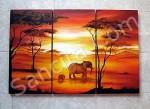 P3-17 Lukisan Minimalis Set / Panel Afrika