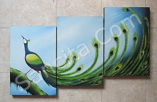 P3-18 Lukisan Panel Burung Merak