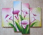 P4-07 Lukisan Minimalis Set / Panel Set Bunga Sallas