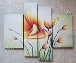 P4-08 Lukisan Minimalis Set / Panel Set Bunga Sallas