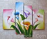 P4-09 Lukisan Minimalis Set / Panel Set Bunga Sallas