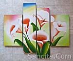 P4-10 Lukisan Minimalis Set / Panel Set Bunga Sallas