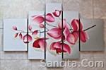 P5-02 Lukisan Minimalis Set / Panel Set Bunga Anggrek