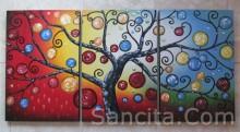 P3-03 Lukisan Minimalis Set / Panel Set Pohon Ajaib
