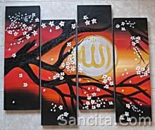 P4-15 Lukisan Panel Set Kaligrafi