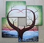 P4-25 Lukisan Minimalis Set / Panel Pohon Kasih