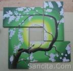 P4-12 Lukisan Minimalis Set / Panel Set Bunga Sakura