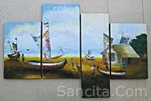 P4-17 Lukisan Panel Set Perahu