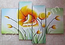 P4-31 Lukisan Minimalis Set / Panel Set Bunga Sallas