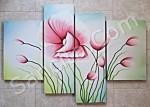 P4-32 Lukisan Minimalis Set / Panel Set Bunga Sallas