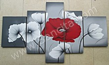 P5-01 Lukisan Minimalis Set / Panel Set Bunga Sallas