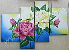 P4-11 Lukisan Minimalis Set / Panel Set Bunga Mawar