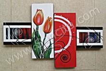 P4-29 Lukisan Minimalis Set / Panel Bunga Tulip