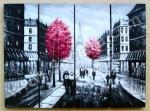 P4-16 Lukisan Panel Set Kota Paris