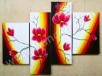P4-06 Lukisan Panel Set Bunga Minimalis