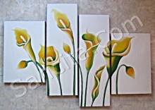 P4-37 Lukisan Minimalis Set / Panel Bunga Sallas