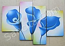 P4-35 Lukisan Minimalis Set / Panel Bunga Sallas