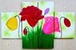 P4-33 Lukisan Minimalis Set / Panel Bunga Minimalis