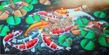 K-16 Lukisan Ikan Koi 18 Ekor