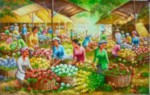 PS-028 Lukisan Pasar Bunga