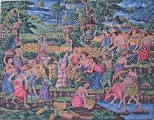 T-12 Lukisan Panen Gaya Ubud