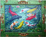 K-15 Lukisan Ikan Koi 9 Ekor