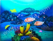 PM-044 Lukisan Pemandangan Bawah Laut