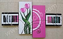 P4-39 Lukisan Minimalis Set Bunga Cinta