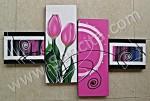P4-38 Lukisan Minimalis Set / Panel Set Tulip