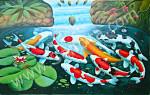 K-19 Lukisan Ikan Koi 9 Ekor
