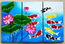 P3-25 Lukisan Minimalis Set / Panel Set Ikan Koi