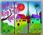 P3-27 Lukisan Panel Set Rumah