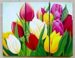 P3-32 Lukisan Minimalis Set Bunga Tulip