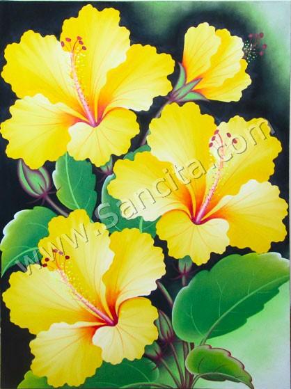 Bg 39 Lukisan Bunga Kembang Sepatu Sancita