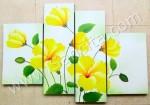 P4-43 Lukisan Minimalis Set / Panel Bunga Kembang Sepatu