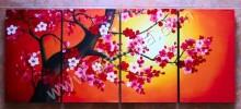 P4-42 Lukisan Minimalis Set / Panel Bunga Sakura