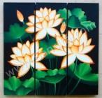 P3-34 Lukisan Panel Set Bunga Lotus