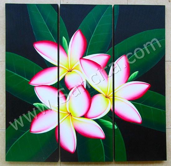 P3 35 Lukisan Panel Set Bunga Kamboja Sancita