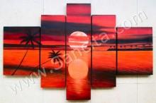 P5-07 Lukisan Minimalis Set / Panel Set Sunset