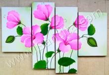 P4-44 Lukisan Minimalis Set / Panel Bunga Kembang Sepatu
