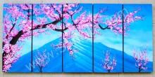 P5-08 Lukisan Panel Set Bunga Cherry Blossom