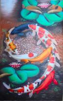 K-03 Lukisan Ikan Koi Berbentuk Angka 9
