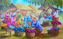 PS-032 Lukisan Pasar Bunga